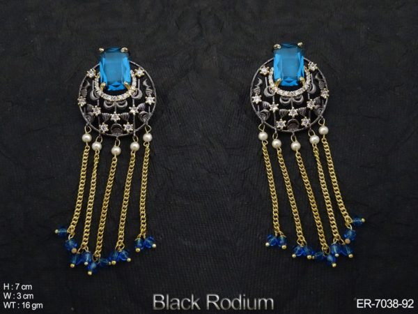 Round Designer Chain Drop AD Earrings