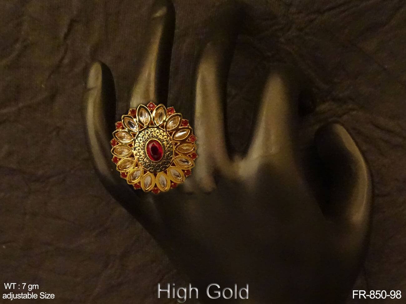Paan Flower Style AD Finger Ring