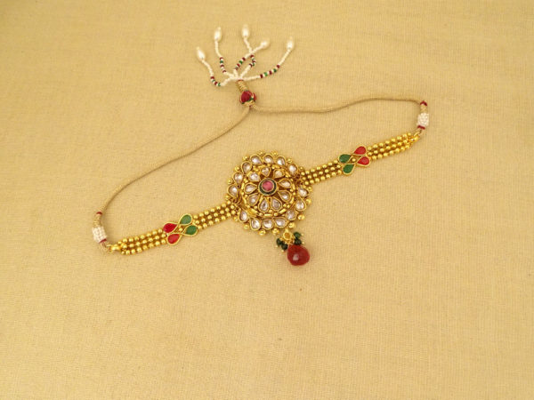 round paan simple style moti drop antique bajuband