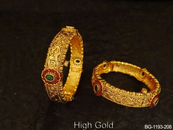Textured Style Broad Antique Bangles
