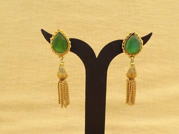 paan shape long chain tv serial antique earrings