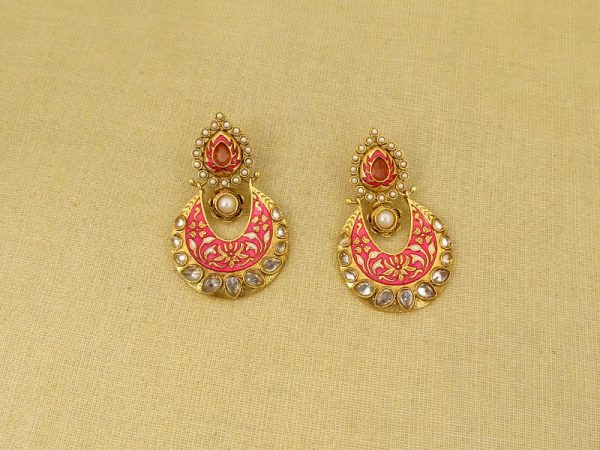 chand polo paan hold designed polki earrings