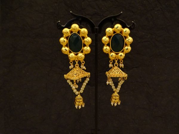 Oval Ball Bordered Antique Earrings