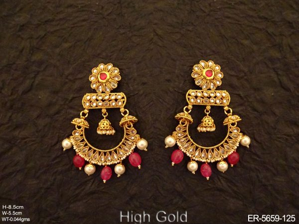 Jhula Style Paan Stone Earrings
