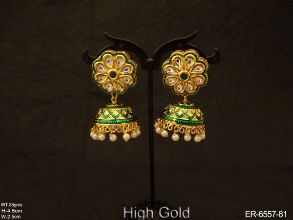 Reverse Flower Jhumki Antique Earrings