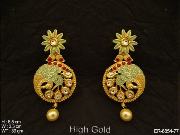 In curled Flower Round Antique Earrings