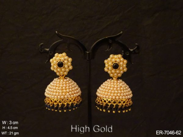 Moti Engraved Jhumki Antique Earrings
