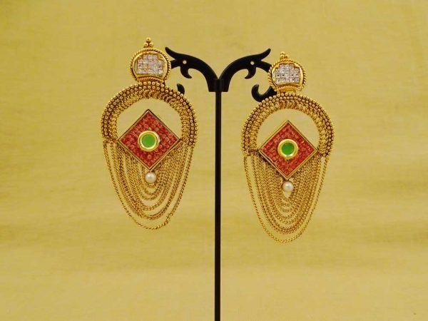 reverse chand polo chain style antique earrings