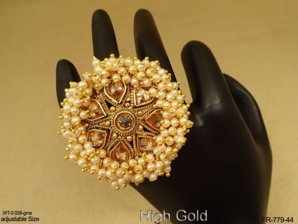 Multi Pearls Reverse Paan Stone Finger Ring