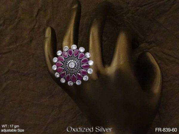 Reverse Paan Style Antique Finger Rings