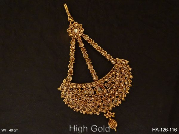Chand Shape Full Stone Polki Hair Accessory
