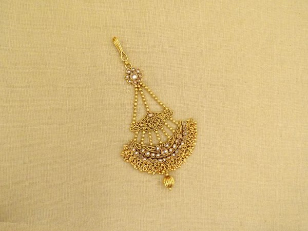 bridal gold plated pearl copper jhoomar passa hair accessories