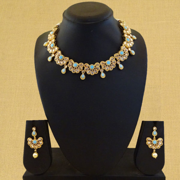 Half Paan Flower Style Antique Necklace