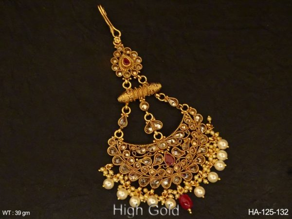 Chand Shape Paan Stone Polki Hair Accessory