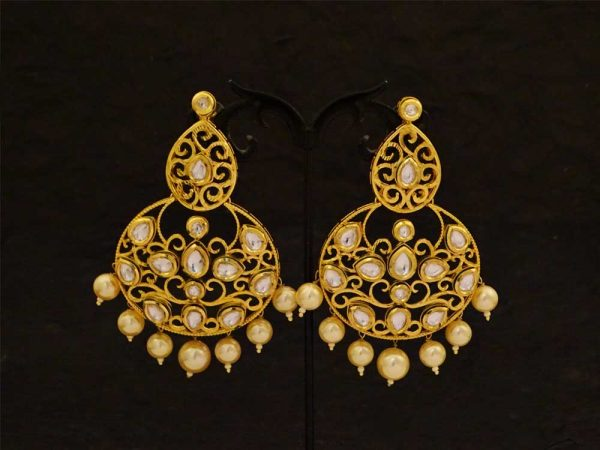 moti drop kundan earrings