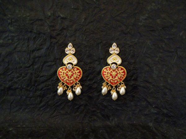 Heart Shape Leaf Style Antique Earrings