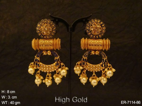Chand Shape Cylinderical Antique Earrings