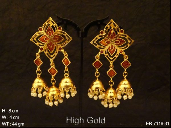 Triple Jhumki Star Style Antique Earrings