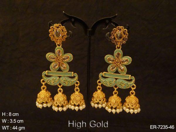 Flower Triple Jhumki Antique Earrings