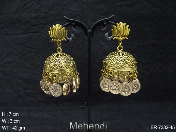 Lotus Jhumki Antique Earrings