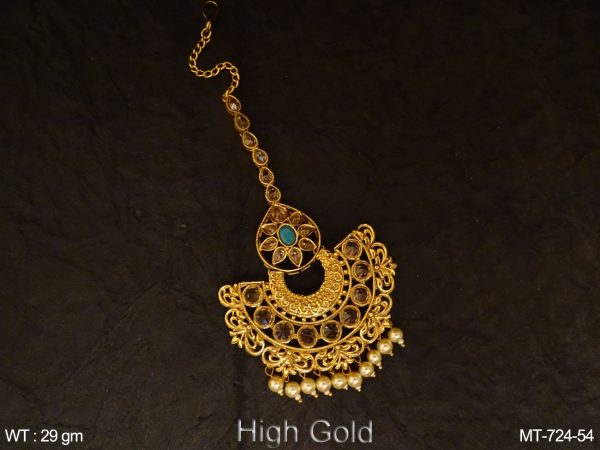 Half Circle Designer Antique Maang Tikka