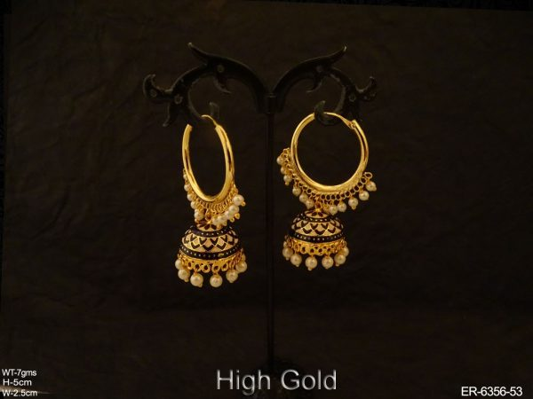 Bali Style Jhumki Textured Antique Earrings
