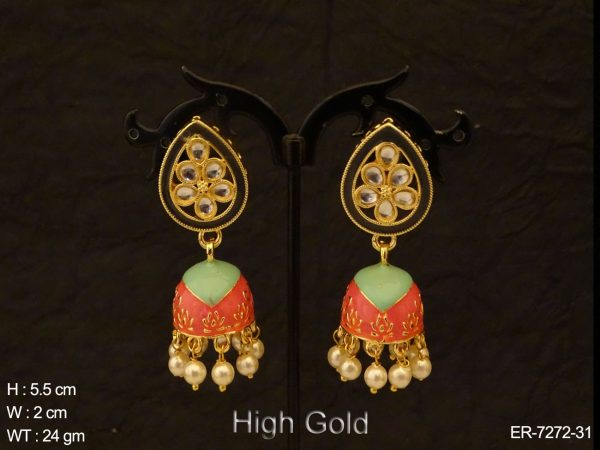 Paan Stone Textured Antique Jhumki Earrings