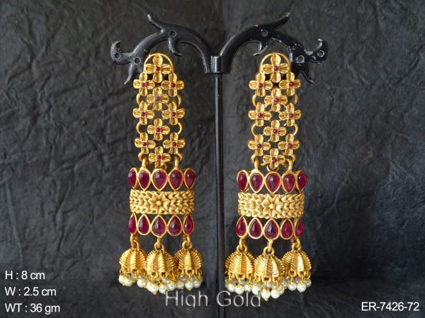 Rani paan flower design kemp earring