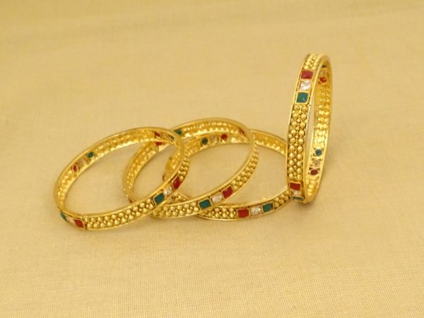 tri square small beads antique bangles