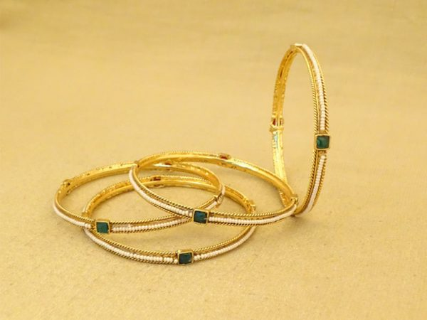 square distanced beads delicate antique bangles
