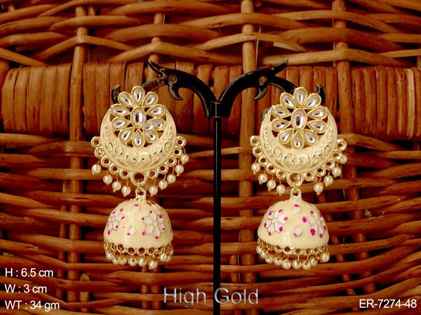 Chand Flower Style Shape Jhumki Earrings