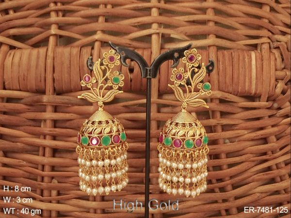 Flower leave ruby green antique jhumka