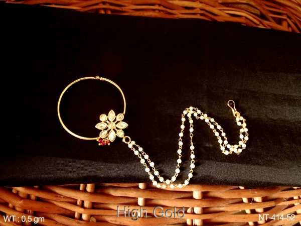 Flower pearl chain attach antique nath
