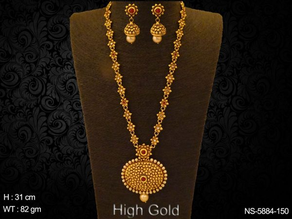 Long Style Flowery Antique Necklace Set