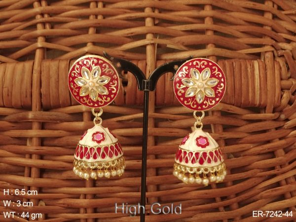 Round Shape in Flower Jhumki Earrings