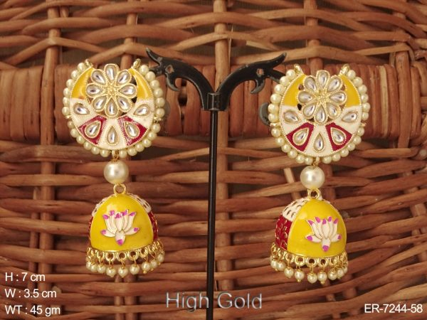 Chand Shape Jhumki Lotus Earrings