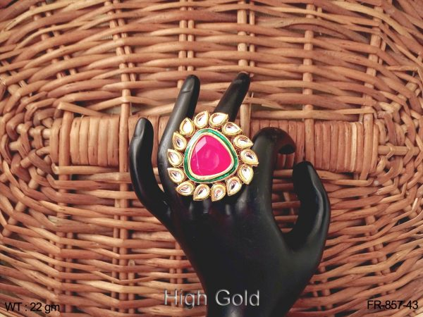 Trangle beads with paan kundan finger ring