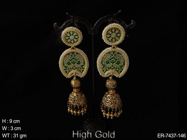 Peacock jumka thewa earring