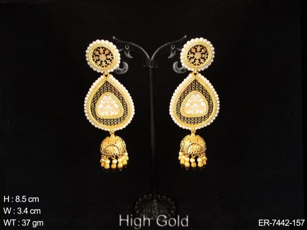 Peacock Trangle shape jhumka typ thewa earring