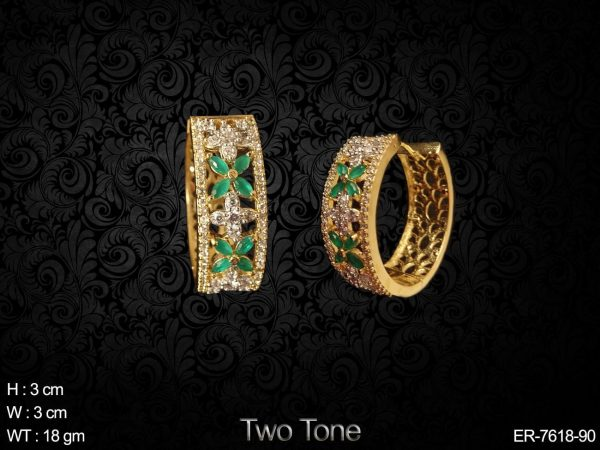 Coloring marquise daimond cz full ad two tone bali
