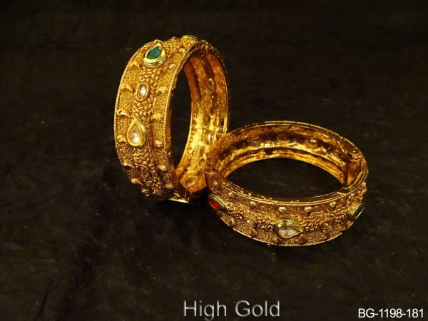 Paan Center Line Antique Bangles