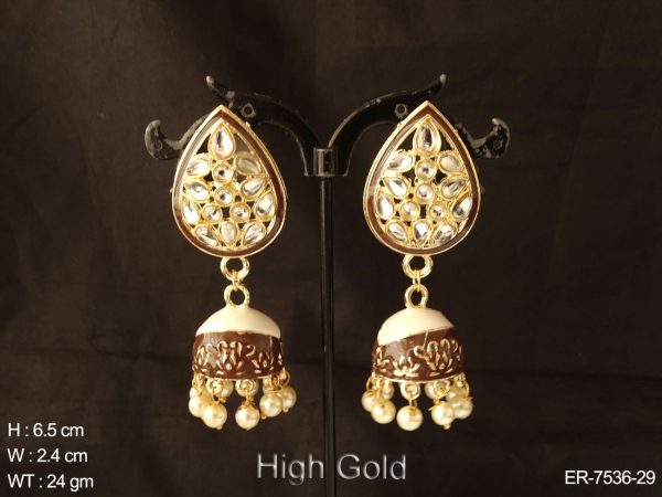 Coloring meena jhumka full stone antique earring