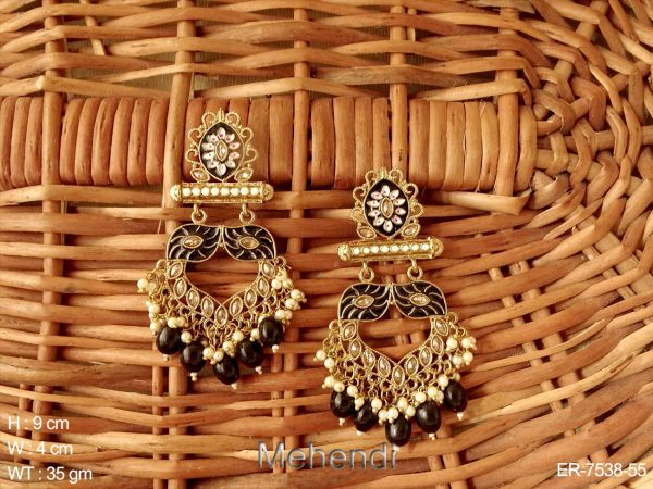 Marquise meena color long antique earring