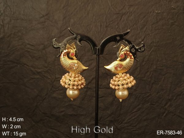 Peacock pearl antique jhumka earring