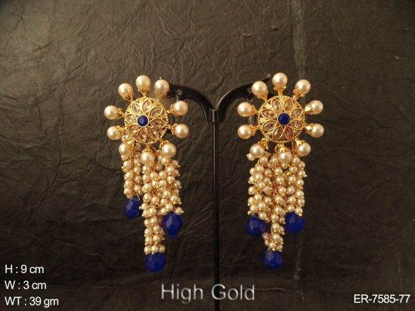 Clustered moti coloring drop antique earring