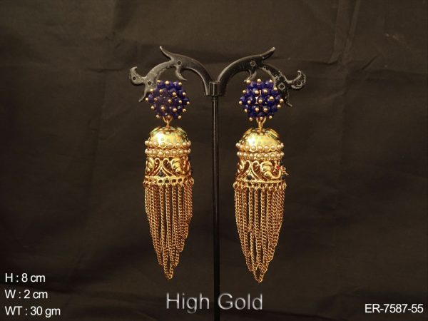 Clustered coloring high gold chain design antique jhumka
