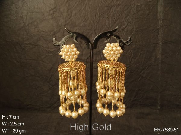 Fancy jumar chain clustered moti high gold antique earring
