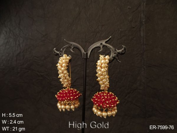 Cluster pearl jhumka antique earring