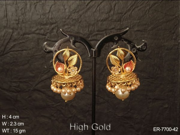 Fancy latest leave design antique jhumka earring