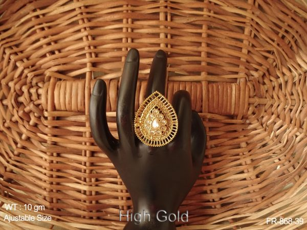 Lct ruby high gold paan shape antique finger ring